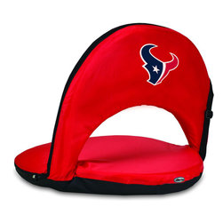 Picnic Time - Houston Texans Oniva Seat Recreational Reclining Seat in Red - When you need a recreational reclining seat that's lightweight and portable, the Oniva Seat is for you. It has an adjustable shoulder strap and six adjustable positions for reclining. The seat cover is made of polyester, the frame is steel, and the seat is cushioned with high-density PU foam, which provides hours of comfortable sitting. The bottom of the seat is black so as not to soil easily. The Oniva Seat is great for the beach, the park, gaming and boating.; Decoration: Digital Print