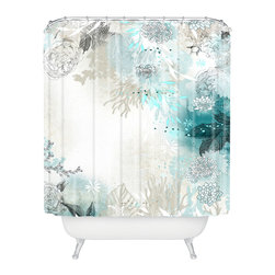 DENY Designs - Iveta Abolina Seafoam Shower Curtain - Who says bathrooms can't be fun? To get the most bang for your buck, start with an artistic, inventive shower curtain. We've got endless options that will really make your bathroom pop. Heck, your guests may start spending a little extra time in there because of it!