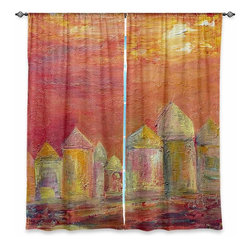 """DiaNoche Designs - Window Curtains Unlined - Dora Ficher Orange Sky - Purchasing window curtains just got easier and better! Create a designer look to any of your living spaces with our decorative and unique """"Unlined Window Curtains."""" Perfect for the living room, dining room or bedroom, these artistic curtains are an easy and inexpensive way to add color and style when decorating your home.  This is a tight woven poly material that filters outside light and creates a privacy barrier.  Each package includes two easy-to-hang, 3 inch diameter pole-pocket curtain panels.  The width listed is the total measurement of the two panels.  Curtain rod sold separately. Easy care, machine wash cold, tumbles dry low, iron low if needed.  Made in USA and Imported."""