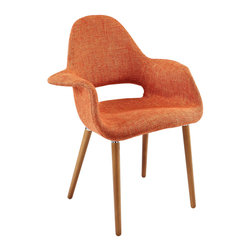 """LexMod - Aegis Dining Armchair in Orange - Aegis Dining Armchair in Orange - Repose in a chair that constantly forms and reforms new definitions of reality. Let tensions fade away as you embrace the ability to initiate and innovate. Four wooden legs support the diagonal look of the Taupe Accent Chair where fresh ideas are spun. Set Includes: One - Aegis Accent Chair Mid-century design with a modern look, Supportive high back and arms, Foam padding for comfort, Medium brown wooden legs, Patterned tan and beige twill fabric, Finely upholstered fabric, Assembly required, Chair weight capacity - 310 lbs. Overall Product Dimensions: 25""""L x 28.5""""W x 35""""H Seat Height: 18.5""""L x 16""""W x 18.5""""H Armrest Dimensions: 6""""W x 8""""HBACKrest Height: 18""""H - Mid Century Modern Furniture."""