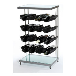 """Oenophilia - Hammock 16 Bottle Wine Rack - Features: -This attractive rack features canvas slings that give your bottles a floating effect.-This contemporary rack holds 16 bottles.-Distressed: No.-Product Type: Wine bottle rack.-Finish: Gray.-Hardware Finish: Black & glass.-Powder Coated Finish: No.-Material: Metal.-Scratch Resistant: No.-Tarnish Resistant: Yes.-Mount Type: Floor.-Wine Bottle Capacity: 16.-Weather Resistant or Weatherproof: No.-Lockable: No.-Shelves Included: Yes -Number of Exterior Shelves: 1.-Adjustable Shelves: No..-Lighted: No.-Plug-In: No.-Removable Serving Tray Included: No.-Ice Bucket Included: No.-Wine Glass Storage Included: No.-Glasses Included: No.-Adjustable Levelers: No.-Stackable: No.-Foldable: No.-Removable Bottle Racks: No.-Commercial Grade Welding: Yes.-Bottle Size Compatibility: 750 ml.-Weight Capacity: 40 lbs.-Outdoor Use: No.-Commercial Use: No.-Recycled Content: No.-Eco-Friendly: No.-Gloss Finish: No.-Refrigerated Cabinet: No.-Mirrored Back: No.Specifications: -UL Listed: No.-cUL Listed: No.-ISTA 3A Certified: No.-ISO 9000 Certified: No.-ISO 14000 Certified: No.Dimensions: -Overall Height - Top to Bottom: 29.75"""".-Overall Width - Side to Side: 17.5"""".-Overall Depth - Front to Back: 11.25"""".-Shelves: -Shelf Width - Side to Side: 17.5"""".-Shelf Depth - Front to Back: 11""""..-Drawers: No.-Cabinets: No.-Overall Product Weight: 31.1 lbs.Assembly: -Assembly Required: No."""