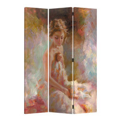 """ADAD5472 - 3 Panel Seated Woman Pastel Look Room Divider Shoji Screen On Canvas Print - 3 panel Seated woman pastel look room divider shoji screen on canvas print . Made with a painted canvas covering. Measures 48"""" W x 71"""" H."""