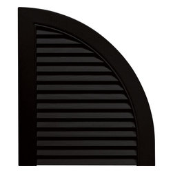 """Builders Edge - Vinyl Louvered Design Quarter Round Tops in B - Provides distinctive styling for standard shutters. Constructed with color molded-through vinyl so they will not scratch, flake, or fade. Durable, maintenance-free U.V. stabilized, deep wood grain texture. Made in the USA. For use with Builders Edge 15"""" Standard Louver Shutters only. 14.5 in. W x 1 in. D x 17 in. H (1.69 lbs.)"""