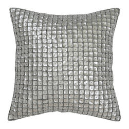 Best Home Fashion - Mother-of-Pearl Pillow, Silver - Handmade mother of pearl pillow is the perfect decor piece for any sofa, chair, or bed