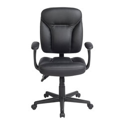 "Techni Mobili - Techni Mobili 9105 Ergonomic Task Chair in Black - Techni Mobili - Office Chairs - RTA9105BK - Increase your comfort level with Techni Mobili's ergonomic office chair! Featuring double pillow soft cushion back and seat support with padded armrests this chair is sure to meet your comfort needs. Tilt tension control makes this chair easily customizable to your personal preferences while nylon wheels and a heavy duty nylon base make this chair both durable and stable. The back of this chair is fully adjustable 5"" higher or lower which can be changed through the easy-to-use back height adjustment mechanism. A stylish and modern design add the finishing touches to this piece making this a great addition to any home or office."