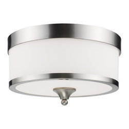 Z-Lite - Z-Lite Cosmopolitan Ceiling Light X-NB-F803 - For a cutting edge modern fixture, look no further than this flush mount. A milk white shade is complimented with brushed nickel bands, and accented with a modern styled finial. This flush mount is sure to be great addition to any contemporary space.