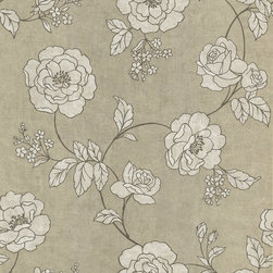 Kenneth James - Serene Aw Outline Rose Wallpaper - Delicate blossoms in a vintage-inspired outline design make up the pleasing pattern of this neutrally-toned wallpaper. Soft hues of pewter, cream and dark brown are elegantly featured in this paper that is so lovely, you'll want to reach out and touch it.