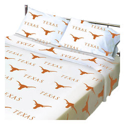 College Covers - NCAA Texas Longhorn Collegiate Twin X-Long Bed Sheet Set - Features: