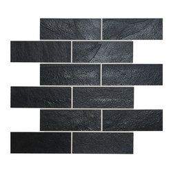 "Backsplash - Black Slate Mosaic Kitchen Backsplash Tile, 12""x12"" Sheet - Black slate kitchen mosaic backsplash tile. Meshed Back black slate give unique look to your kitchen. Easily match with white kitchen cabinets and gray granite kitchen countertop."