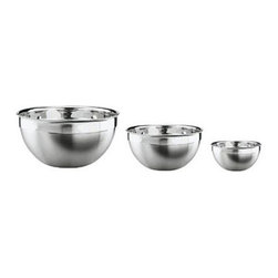 Rosle - Rosle Deep Bowls- Set of 3 - Decorative bowls for serving at table as well as for preparation and storage of foodstuffs. Premium 18/10 stainless steel with brushed finished in the outside and polished inside. Pouring rim to facilitate Pouring of liquids. Set includes 3 bowls (models 15676, 15680 and 15684). Capacity: 1.7 qt., 3.3 qt., and 5.7 qt. . 5-year warranty.