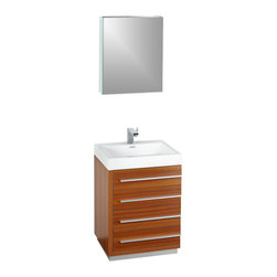 """Fresca - Livello 24"""" Teak Vanity w/ Medicine Cabinet Sillaro Brushed Nickel Faucet - The Livello 24"""" vanity features four pull out drawers that come equipped with slow closing hinges.  Its sink is made with a durable acrylic material that is less likely to break then tradition ceramic, it also cleans better.  This vanity's minimal design will make your bathroom feel like a modern oasis.  Many faucet styles to choose from."""