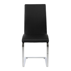 Santos Side Chair (Set Of 2)-Blk/Chr - Leatherette over foam seat and back