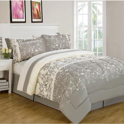 None - Carson Reversible 8-piece Bed-in-a-Bag with Sheet Set - An elegant scrollwork design makes this Carson reversible bedding the ideal addition to any bedroom. Graced with matching shams,a bedskirt and four-piece sheet set,this machine washable comforter is crafted with soft,double brush microfiber.