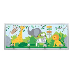illumalite Designs - Zoo Animals Plaque Coat Rack with Pegs - This brightly colored jungle themed plaque features lions, giraffes and monkeys and is the perfect addition to any child's room. Measuring 10.25 in. by 25 in., this plaque is the ideal way to decorate a child's wall. Features 4 painted wooden pegs to hold anything from coats to keys. The handpainted white border highlights the beautiful design