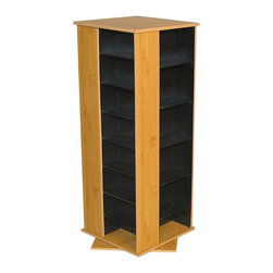 Venture Horizon - 4 Sided Revolving Multi-Media Tower in Oak Fi - Keep movies and music organized and easily accessible in a family room or provide space for all your important office discs with this versatile revolving media tower, a fashionable and functional addition to any decor. Constructed of wood composite in oak and black finishes, the unit fully rotates so your favorite movie or CD will always be close at hand. Rotates 360�. Huge storage capacity. Organizes all media. Constructed from durable, stain resistant and laminated wood composites that includes MDF. Pictured in Oak finish w Black interiors. Made in the USA. Assembly required. Media storage capacity:. CD's : 928. DVD's : 416. Blu-ray's: 532. VHS tapes: 264. Disney tapes: 198. Audio cassettes: 900+. Weight: 85 lbs.. Shelf depth: 6 in.. Assembled size: 19.25 in. W x 19.25 in. D x 50 in. HOrganize an entire media collection. These 4 sided beauties will brighten up any room. Because they rotate a full 360�, you will never have to strain your neck locating your favorite CD, DVD, video or cassette. There are 5 models from which to choose so identifying the perfect match should be easy. Nearly all the shelves are adjustable so even odd sized media like Disney Tapes can be accommodated. Constructed from durable melamine laminated particle board these towers are stain resistant and easy to clean. The front panels and top/bottom panels on Models: 2021, 2022, 2381, 2391 and 2392 are gently molded and stylishly contoured to add real value. NEW! We just added a 2 sided Revolving Media Tower available in 2 sizes and 4 colors.