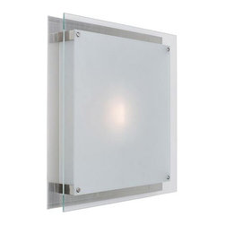 Access Lighting - Vision Brushed Steel ADA Wall/Ceiling Flush Mount - -Frosted Glass Access Lighting - 50031-BS/FST