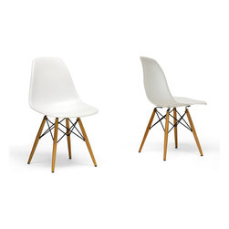 Baxton Studio - Azzo Plastic Side Chairs, Set of 2 - The retro simplicity of these classic white accent chairs will instantly enhance the modernity of your room. Each of these contemporary accent chairs is made from durable matte-finish molded plastic with an ergonomically-shaped and curved seat. The legs are wooden and include steel hardware in black as well as black plastic tips to protect sensitive flooring. Assembly is required.