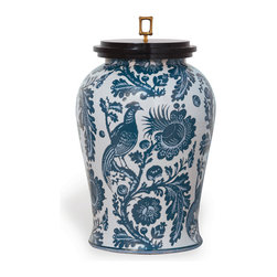 """Scalamandre Maison by Port 68 - Arcadia Jar, Indigo - Make a bold and bright statement with the Arcadia Indigo Jar. Inspired by Scalamandre's classic """"resist"""" fabric, this jar features an intricate bird print in deep indigo hues. Accented with a black wood lid and solid brass square bamboo finial, this piece makes a chic addition to any traditional decor."""
