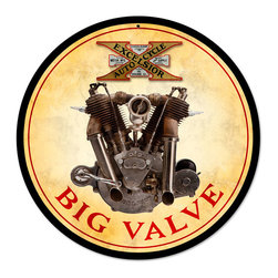 Past Time Signs - Big Valve Engine Vintage Metal Sign - This vintage metal sign is hand made with pride in the USA using heavy gauge American steel. The high-resolution graphics are sublimated and powdercoated for a long-lasting durable finish. Then, it's worked over by hand to give it that vintage look and feel. It's perfect for your %customfield:genre% Man Cave, Game Room, Office, or anywhere you want to show love for your favorite things.