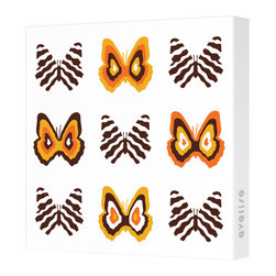 Avalisa - Imagination - Butterfly Group 1 Stretched Wall Art, Brown/Orange - Butterflies are a symbol of change and transformation, and nothing will change your room faster than graphic artwork on the walls. This butterfly grouping comes in your choice of sizes and color combinations, and is printed on stretched fabric, ready to hang.