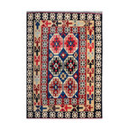 """ALRUG - Handmade Multi-colored Oriental Kilim  6' 11"""" x 9' 10"""" (ft) - This Afghan Kilim design rug is hand-knotted with Wool on Wool."""