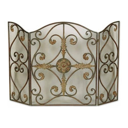 Uttermost - Uttermost Jerrica Fireplace Screen - This lovely fireplace screen is made of hand forged metal with wire mesh panels. The mahogany base-coat has light brown accents with tan glaze and dark brown wash.