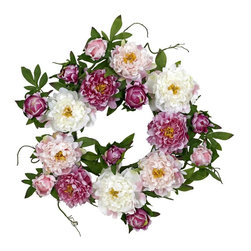 Nearly Natural - 22 in. Peony Wreath - Spruce up your front door or entryway. This lush wreath demands attention. Will bring flair to any space it graces. Construction Material: Polyester material, plastic, Iron. 22 in. W x 22 in. D x 22 in. H ( 2 lbs. )Celebrate the colors and good feelings of springtime all year long with this stunning Peony Wreath. With a virtual cornucopia of warm, vibrant hues and differing textures, this is THE perfect wreath for those who appreciate the delicate beauty that nature provides. The wispy green leaves and stems provide the perfect visual offset, making this an ideal display piece for all seasons!