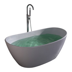 ADM - ADM White Solid Surface Stone Resin Bathtub, Matte - SW-135
