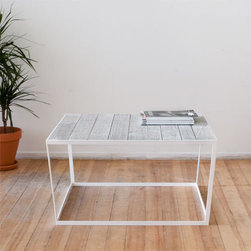 Iacoli & McAllister — Frame Coffee Table - This table perfectly captures my love of rustic and modern design. The top comes in natural, black or white wash, while the powder-coated base balances things out with a modern touch.