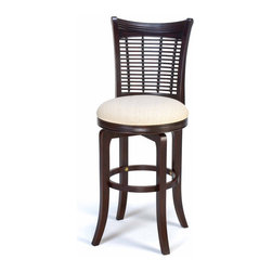 Hillsdale Furniture - Hillsdale Bayberry Wicker Swivel 24 Inch Counter Height Stool - Finished in a dark cherry or a classic oak  our Bayberry stools combine the clean lines of a transitional design with the unique addition of a bamboo effect in the stool back. These stools have a cream colored fabric seat. Made from hardwoods  these stools are composed of both solids and climate controlled wood composites to prevent cracking and splitting from changes in temperature or humidity.