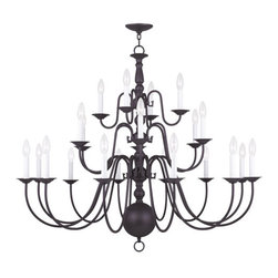 Livex Lighting - Williamsburg Bronze 22 Light Chandelier - - Chain: 6-Feet   - Wire: 15-Feet   - Canopy Size: 5-Inches   - Some Assembly Required. Heavy Mounting: Professional installation recommended.  - Finish/Color: Bronze   - Product Width: 42   - Product Depth: 42   - Product Weight: 30   - Product Height: 40   - Material: Stainless Steel Livex Lighting - 5015-07