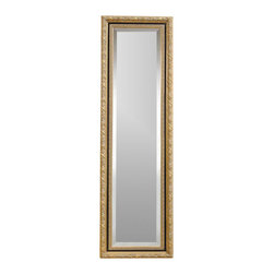 Bassett Mirror - Beveled Cheval Floor Mirror in Gold Leaf w Wh - Rectangle Shape. Decorative piece. Can be wall mounted. 18 in. L x 64 in. H (36 lbs.)