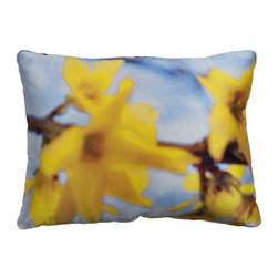 Tempo Luxury home - Joie de Vivre Pillow by Joe ginsberg for Tempo Luxury home - Sunny yellow blossoms against a sky of blue. Summon the innocence of spring with this delightful decorative pillow and bring the beauty of nature indoors. Joie de Vivre is printed on silk charmeuse; velvet-textured backing in Silver. Fill: 75% goose down; 25% feather. The Le Fleur Collection is made to order.