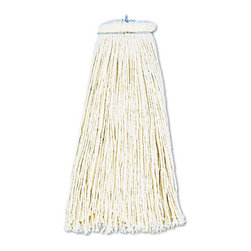 UNISAN - UNISAN Cut-End Lie-Flat Wet Mop Head, Cotton, 16oz, White - Premium, four-ply yarn mop lies flat on floor. Standard 1/4 threaded bolt head for easy screw-in mop head change and galvanized metal outerband. Use with lie-flat screw-in mop handle, sold separately.