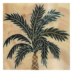 Handcrafted Marble Mural Palm Tree Backsplash - Made to order. Lead time 2-4 weeks. Proudly made in USA.