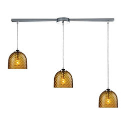 Elk Lighting - Elk Lighting 31080/3L-AMB Viva Transitional Multi Light Mini Pendant Light - Elk Lighting 31080/3L-AMB Viva Transitional Multi Light Mini Pendant Light in Polished Chrome