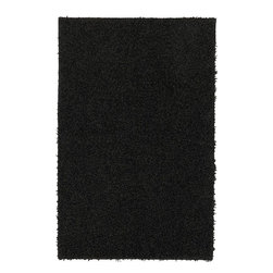 Mohawk - Shag Solid Shag 5'x8' Rectangle Black Area Rug - The Solid Shag area rug Collection offers an affordable assortment of Shag stylings. Solid Shag features a blend of natural Black color. Machine Made of Olefin the Solid Shag Collection is an intriguing compliment to any decor.