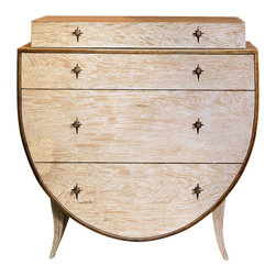 "Global Views - Klismos Chest - This beautiful curved shaped chest is solid American white oak in a unique sandblasted finish.  It has 3 functioning drawers with a nonfunctional stepped-in ""faux"" drawer at the top.  Each drawer has two solid brass, bronzed finish, pulls with a star shaped back plate.  The cabinet is trimmed at top and bottom with golden bronze finished metal."
