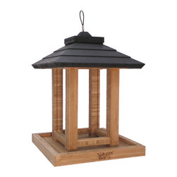 Nature's Way - Bamboo Gazebo Feeder - Gazebo feeder holds 8 quarts of seed, and is made of solid cross-ply bamboo. The Gazebo feeder has spacing for larger birds, a wide opening for easy filling, a seed diverter, and drainage.