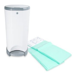 Diaper Dekor - Diaper Dekor Diaper Disposal System - The Diaper Dekor Diaper Disposal System features a sleek design that complements any nursery. Best of all, it's easy to use, with a hands-free step pedal that opens the lid so that you can drop in your diaper and be done.