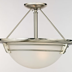 Quoizel - Quoizel NA1716BN New England 3 Light Semi-Flush Mounts in Brushed Nickel - Long Description: This style gives a nod to timeless style of the magnificent ocean liners of the 1920s and 1930s, but is updated for the homes of today. A handsome classic that is always in fashion.