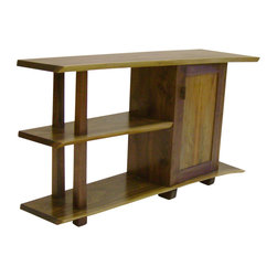 J.C. Sterling fine furniture - Natural Black Walnut 3 Tier Offset Cabinet W/ Figure Mapled Door, Right Cabinet - The beauty and shape of individual trees bring an organic feel and natural elegance to each piece. With a storage area and open shelving these cabinets serve as both a practical piece of furniture and a display unit for treasured pottery or other possessions. sequentially sawn natural edge slabs used to create each tier of this unique cabinet . hand rubbed oil finish. due to the unique shape of each slab there may be some slight variation in the shape and size from the cabinet shown. door panel is figured (spalted) maple and may vary slightly.