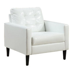 """ACMACM59048 - Balin White Leather-Like Squared Arm Side Chair with Button Tufted Back - Balin white leather like squared arm side chair with button tufted back and slim legs. Measures 30"""" x 30"""" x 32"""" H. Some assembly may be required."""