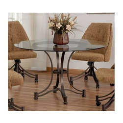 Tempo Industries - Denver Dining Table (Standard Finish - Spring - Finish: Standard Finish - Spring RustIncludes glass top and table base. Warranty: One year. Metal construction. Made in USA. Minimal assembly required. Table: 48 in. Diameter x 28 in. H (54 lbs.)
