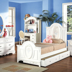 """Acme Furniture - Flora 6Pc Twin Panel Bedroom Set with Trundle - Flora 6Pc Twin Panel Bedroom Set with Trundle; Finish: White; Set includes bed with trundle, nightstand, mirror, dresser, computer desk with hutch and chair; Materials: MDF top and side panel, MDF Edge, Poplar Solid Wood; Dimensions: Bed: 57""""H; Trundle: 75"""" x 41"""" x 12""""H; Nightstand: 26"""" x 17"""" x 27""""H; Oval Mirror: 28"""" x 41""""H; Drawer Dresser: 52"""" x 19"""" x 32""""H; Computer Desk: 52"""" x 24"""" x 30""""H; Computer Hutch: 52"""" x 12"""" x 45""""H; Chair: 38""""H"""