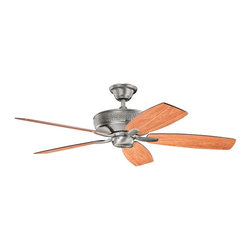 "Kichler - 52"" Monarch II 52"" Ceiling Fan Burnished Antique Pewter - Kichler 52"" Monarch II Model KL-339013BAP in Burnished Antique Pewter with Reversible Cherry/Dark Cherry Finished Blades."
