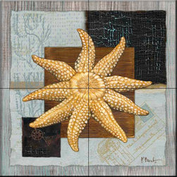 The Tile Mural Store (USA) - Tile Mural - Westport Sun Starfish  - Kitchen Backsplash Ideas - This beautiful artwork by Paul Brent has been digitally reproduced for tiles and depicts a Starfish from the Westport Series.    Tile murals with shells and decorative shell tiles are timeless and are excellent to add to your kitchen backsplash tile project or your tub and shower surround bathroom tile project. Images of sea shells on tiles add a unique element to your tiling project and are a great kitchen backsplash idea for a coastal home. Use a shell tile mural for a wall tile project in any room in your home where you want to add interest to a plain field of wall tile. Bathrooms always look best with the addition of decorative wall tiles so why not add decorative tiles with images of shells?