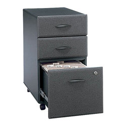 """BBF - BBF Series A 3-Drawer Mobile Pedestal - BBF - Filing Cabinets - WC84853 - Versatility in mobility puts your supplies and files at your fingertips with the BBF series A Mobile Pedestal (B/B/F). This versatile storage component rolls easily under all Series A 36"""" 48"""" 60"""" and 72"""" Desks for added storage with dual-wheel hooded casters (two swivel and two locking). The exterior case finish matches Series A Disking and Hutches to create a unified look. Two box drawers for supplies open on 3/4-extension ball bearing slides and one file drawer utilizes full-extension slides to accommodate letter legal and A4 size files with full drawer access. A single lock secures the lower two drawers for privacy. Solid construction meets ANSI/BIFMA test standards in place at time of manufacture; this product is American made and is backed by BBF 10-year warranty."""