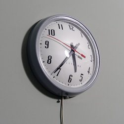 Authentic Vintage Industrial Wall Clock - Round Glass Domed School Clock - Grey - This vintage metal framed industrial style wall clock has such great character. Its rounded glass dome really adds a great feel and look to the piece. It is also styled after those old school clocks.