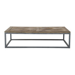 Arden Coffee Table - This table has a reclaimed top and steel base. Did you know that steel is an inherently recycled product? Industry standard already uses around 40 percent of old steel to create new steel.